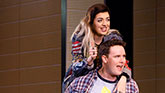 Barrett Wilbert Weed as Janis Sarkisian and Grey Henson as Damian Hubbard in Mean Girls on Broadway