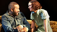 Chris O'Dowd as Lennie & Leighton Meester as Curley's wife in 'Of Mice and Men'