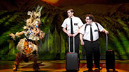 Rema Webb, Andrew Rannells and Josh Gad in The Book of Mormon.