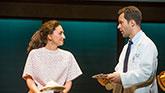 Sara Bareilles as Jenna and Chris Diamantopoulos as Dr. Pomatter in Waitress on Broadway.