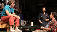 Keegan Allen as Chad, John Pollono as Frank, James Ransone as Packie & James Badge Dale as Swaino in Small Engine Repair