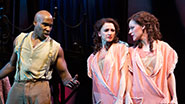 David St. Louis as Jake, Emily Padgett as Daisy Hilton & Erin Davie as Violet Hilton in 'Side Show'