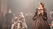 Nathan Parker as King Henry VIII and Lydia Leonard as Anne Boleyn and the cast of 'Wolf Hall'