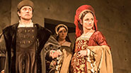 Ben Miles as Cromwell & Lydia Leonard as Anne Boleyn and the cast of Wolf Hall